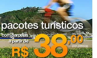 pacotes turíticos com parcelas a partir de 38 reais mensais